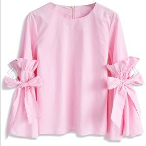 Chicwish Pink Charisma Top with Bell Sleeves